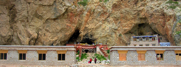 A small monastery nestled in the mountains in central Tibet
