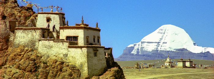 Pilgrims visiting Chiu Monastery near the sacred peak of Mt. Kailash