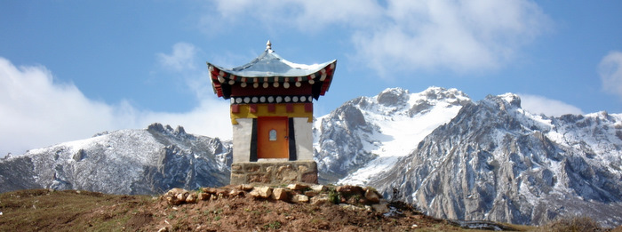 An offering atop a snow mountain in Taktsang Lhamo