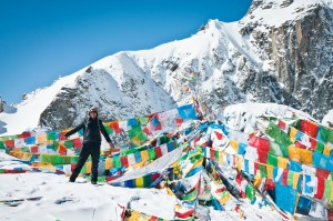 Our guide poses for a photo on the Dolma-la pass during Mt.Kailash Kora