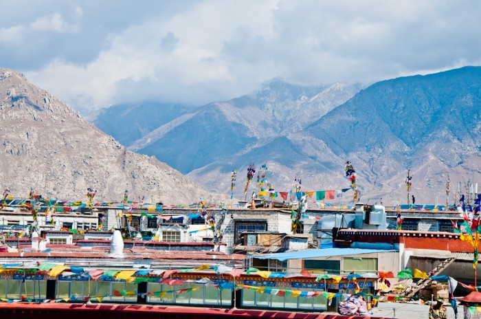 Roofs of local residents in Lhasa