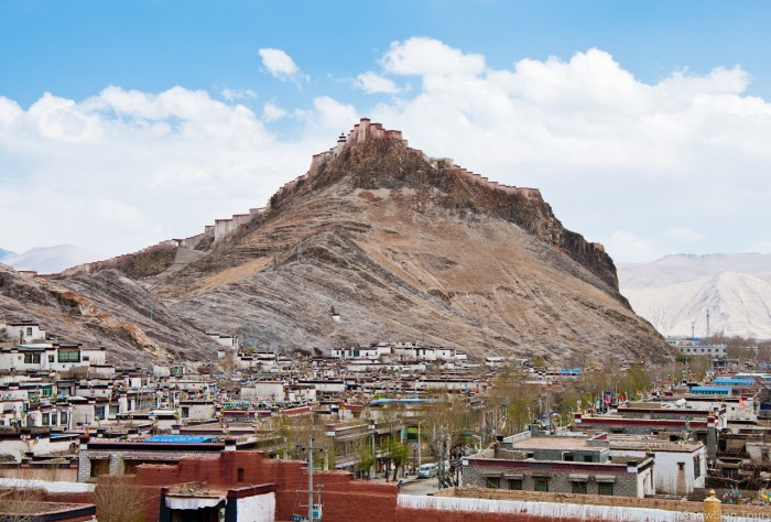 View of Gyantse Dzong from Kumbum Chode in Gyantse in Tibet