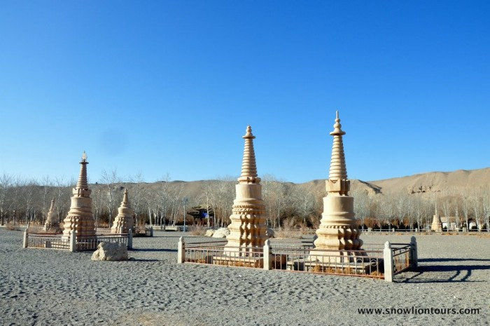 stupas in Mogao caves in Dunhuang