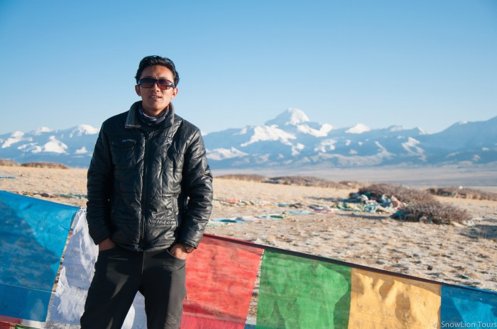 Our guide and the peak of Mt. Kailash