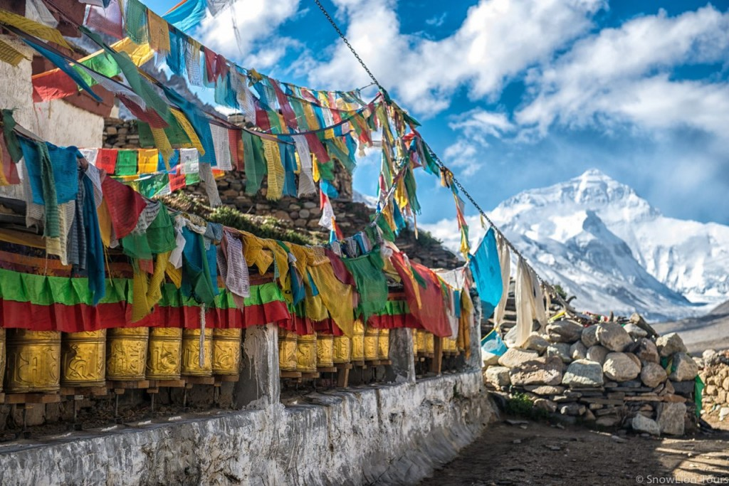 Everest and prayer flags at Rongbuk Monastery