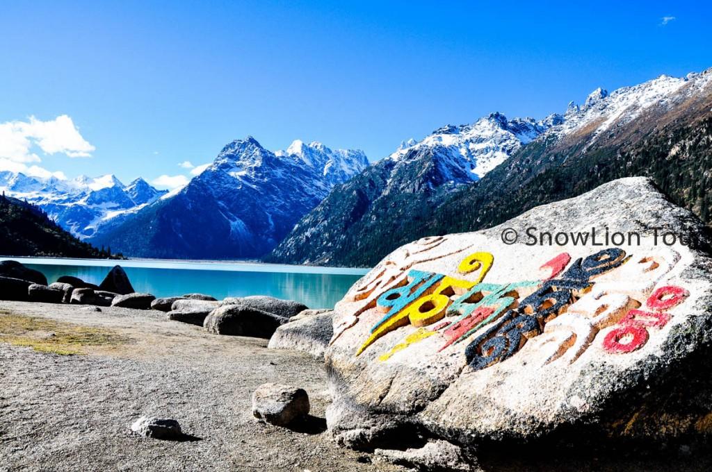 Mani Stones at the Yilhun Lhatso Lake Shore