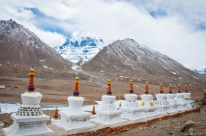 Stupas at Dira Puk monastery and North face of the Mt. Kailash