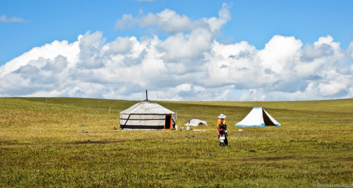 Tibetan nomads in Tsekog grassland
