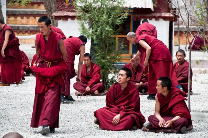 monks debating at  Sera Monastery in Tibet