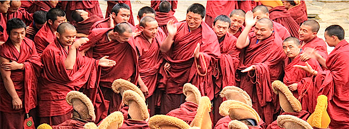 Labrang monastery is the largest monastery in Amdo Tibet. The monastery holds debating session every day. This is one of the debating corner.