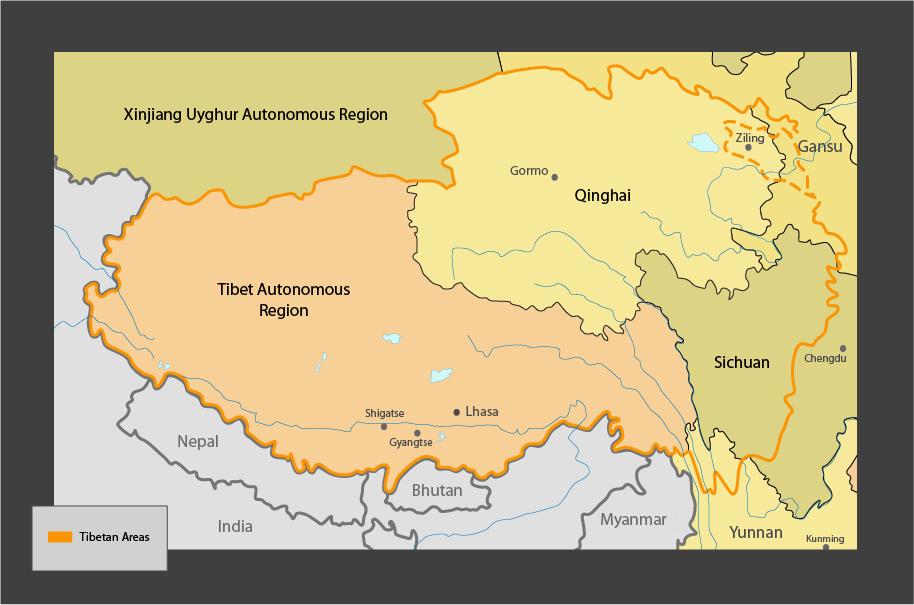 map of Tibetan Regions
